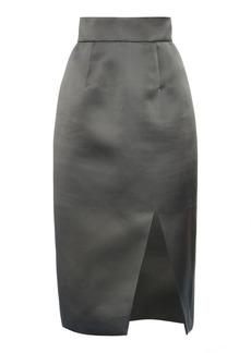 Miu Miu - Women's High-Rise Silk Satin Midi Skirt - Grey - Moda Operandi