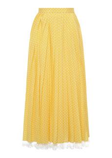 Miu Miu - Women's Lace-Trimmed Pleated Polka-Dot Crepe Midi Skirt - Yellow - Moda Operandi