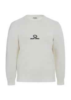 Miu Miu - Women's Logo-Embroidered Wool Sweater - White/black - Moda Operandi
