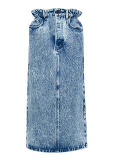 Miu Miu - Women's Marbled Denim Midi Skirt - Medium Wash - Moda Operandi