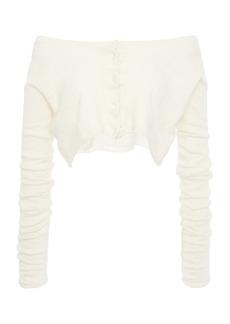 Miu Miu - Women's Off-The-Shoulder Ribbed-Knit Cashmere Silk Top - White/neutral - Moda Operandi