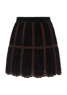 Miu Miu - Women's Patchwork Suede Mini Skirt - Black - Moda Operandi