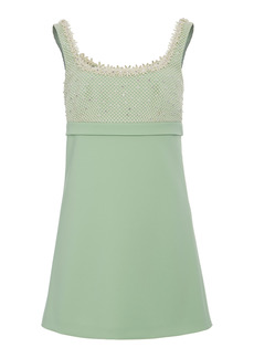 Miu Miu - Women's Pearl Mesh Embellished Mini Dress - Green - Moda Operandi
