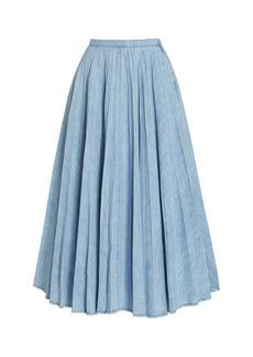Miu Miu - Women's Plisse Cotton Chambray Midi Skirt - White - Moda Operandi