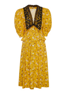 Miu Miu - Women's Printed Peplum Midi Dress - Yellow - Moda Operandi
