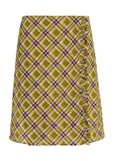 Miu Miu - Women's Printed Ruffle-Trimmed Jersey Skirt - Yellow/multi - Moda Operandi