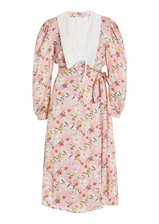 Miu Miu - Women's Printed Satin Sable Dress - Floral - Moda Operandi