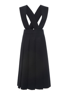 Miu Miu - Women's Racerback Pleated Wool Dress - Black - Moda Operandi