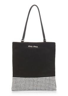 Miu Miu - Women's Raso-Embellished Satin Mini Top Handle Bag - Black - Moda Operandi