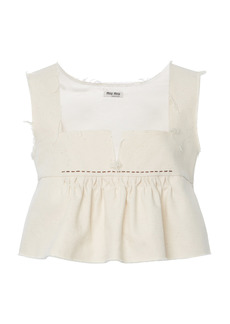 Miu Miu - Women's Ruffled Cotton Cropped Top - White - Moda Operandi