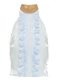 Miu Miu - Women's Ruffled Voile Top - White - Moda Operandi