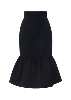 Miu Miu - Women's Ruffled Wool Cady Midi Skirt - Navy - Moda Operandi