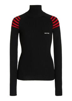 Miu Miu - Women's Turtleneck Ribbed Knit Sweater - Black/orange - Moda Operandi