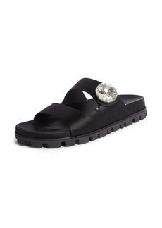 Miu Miu Crystal Button Slide Sandal (Women)