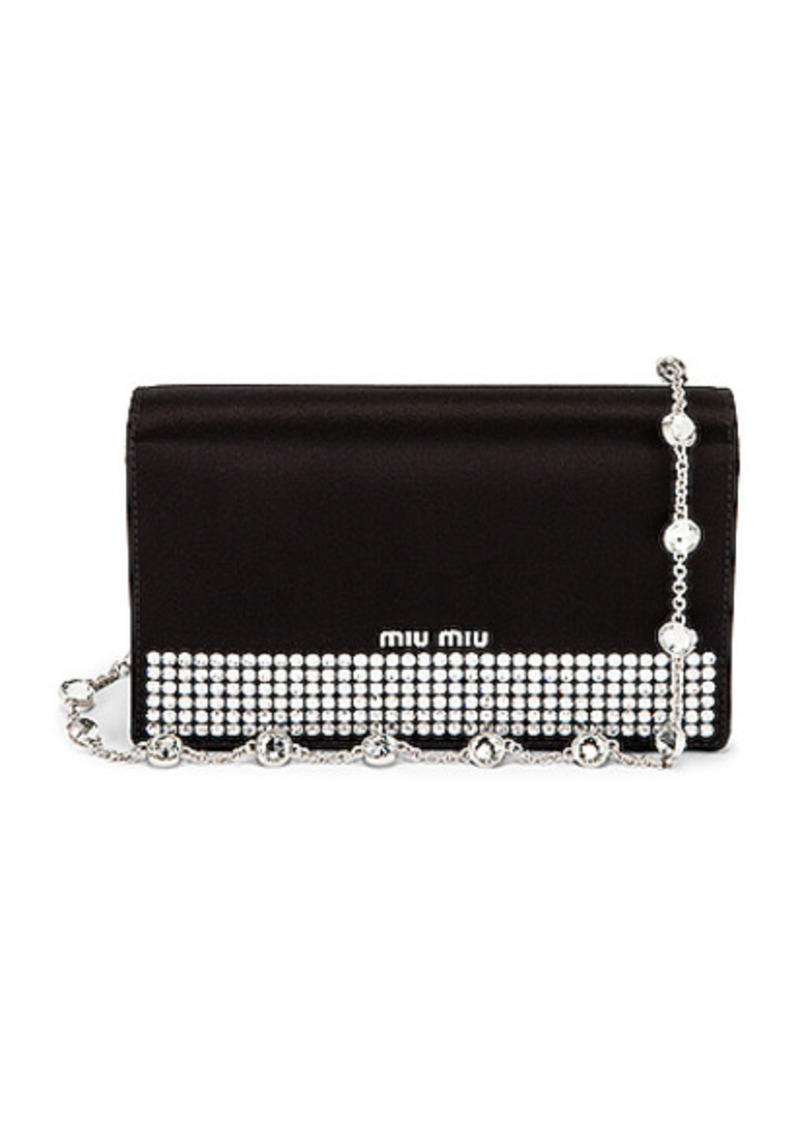 Miu Miu Embellished Silk Satin Mini Bag