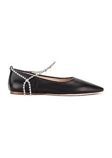 Miu Miu Leather Ankle Jewel Flats