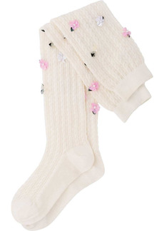 Miu Miu over-the-knee floral-embellished socks