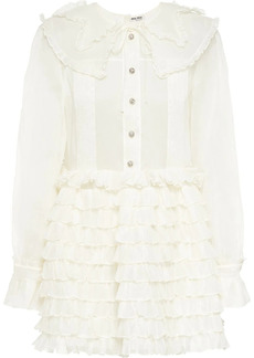 Miu Miu sheer ruffled flared mini dress