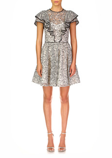 ML Monique Lhuillier Embroidered Ruffle Cocktail Minidress