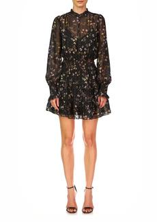 ML Monique Lhuillier Floral Fil Coupé Long Sleeve Fit & Flare Dress