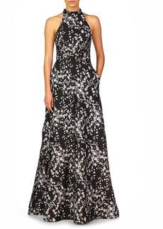 ML Monique Lhuillier Floral Halter A-Line Gown