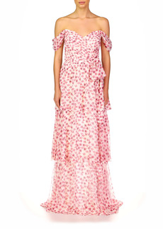 ML Monique Lhuillier Off the Shoulder Tiered Georgette Gown