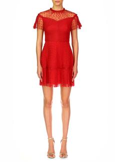 ML Monique Lhuillier Pleat Heart Cocktail Dress
