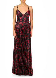 ML Monique Lhuillier Pleated A-Line Gown