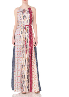 ML Monique Lhuillier Pleated Mixed Print Chiffon Maxi Dress