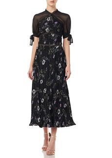 ML Monique Lhuillier Pleated Velvet Dress