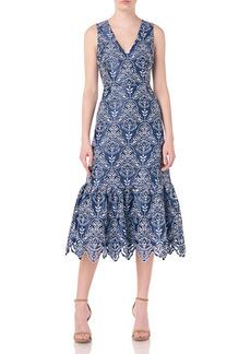 ML Monique Lhuillier Sleeveless Embroidered Midi Dress