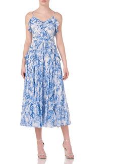 ML Monique Lhuillier Sleeveless Printed Midi Dress