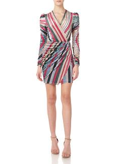 ML Monique Lhuillier Stripe Long Sleeve Velvet Minidress