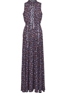 Monique Lhuillier Woman Floral-print Silk-crepe Maxi Dress Burgundy
