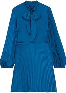 Ml Monique Lhuillier Woman Pussy-bow Plissé-satin Mini Dress Azure