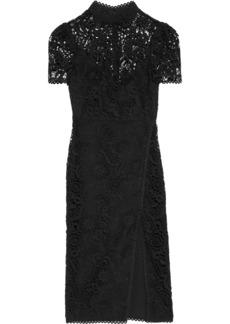 Ml Monique Lhuillier Woman Split-front Guipure Lace Midi Dress Black