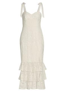 ML Monique Lhuillier Sleeveless Lace Midi Dress