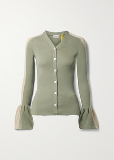 2 Moncler 1952 Two-tone Ribbed Cotton-blend Cardigan