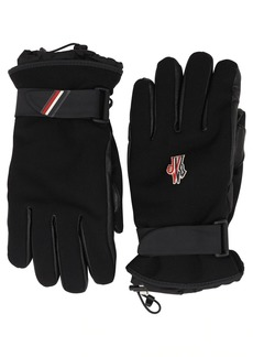 Moncler Logo Canvas & Leather Gloves