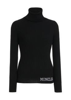 Moncler - Women's Ciclista Logo-Knit Ribbed Wool Turtleneck Sweater - Black - Moda Operandi