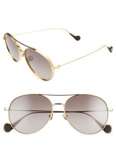 Moncler 57mm Aviator Sunglasses