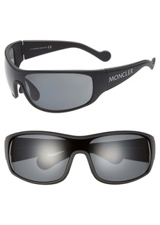Moncler 77mm Polarized Wrap Shield Sunglasses