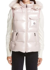 Moncler Balabio Metallic Down Puffer Hooded Vest with Removable Genuine Blue Fox Fur Trim