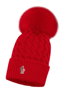 Moncler Cable Virgin Wool Beanie with Genuine Fox Fur Pom