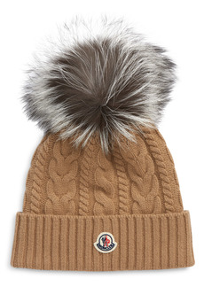 Moncler Cable Wool & Cashmere Beanie with Genuine Fox Fur Pom