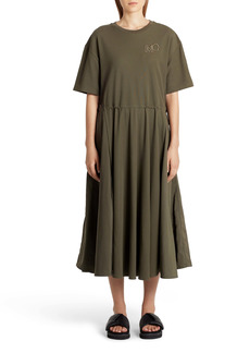 Moncler Drawstring Waist Midi T-Shirt Dress