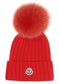 Moncler Genuine Fox Fur Pom Rib Wool Beanie