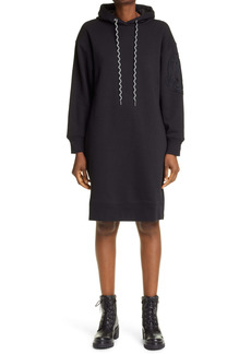 Moncler Logo Embroidered Long Sleeve Hoodie Dress