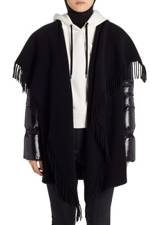 Moncler Mantella Down Puffer Sleeve Wool Cape Coat