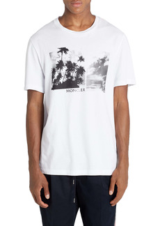 Moncler Palm Tree Print Graphic Tee